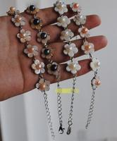 New Goods 7 8mm Natural Pearl Bracelet With Shell Flowers Super Beautiful With Extended Chain