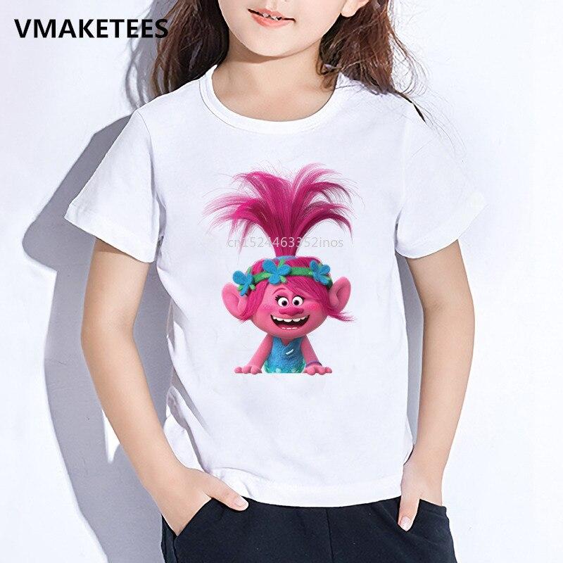 Kids Summer Short Sleeve Girls & Boys T Shirt Children Cartoon Trolls Character Print T-shirt Cute Funny Baby Clothes,HKP2417