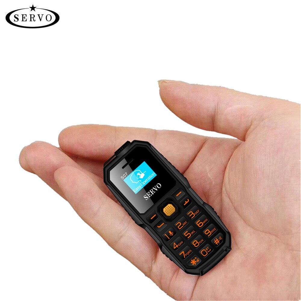 SERVO S07 Bluetooth Dialer mini Téléphone Portable 0.66 Minuscule Écran GSM Faible Rayonnement Double SIM Bluetooth Écouteur Petit Mobile Téléphone