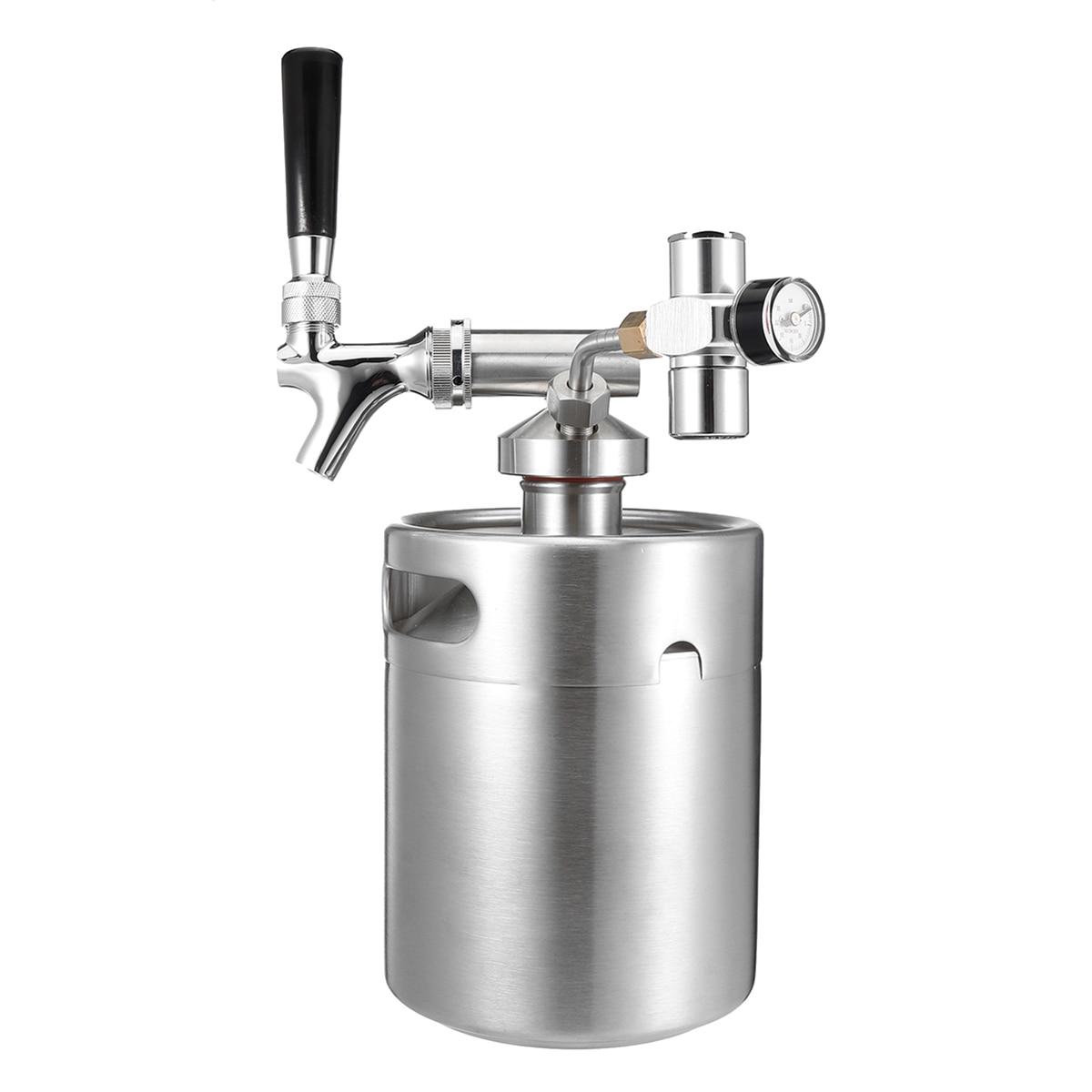 2L acier inoxydable 304 bière Mini fût Mini pression d'air robinet peut vin rouge brassage bouteille vin faisant des outils