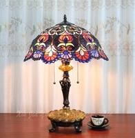 European classical lamp simple warm bedroom desk Tiffany glass desk lamp cafe bar 16 inch desk lamp