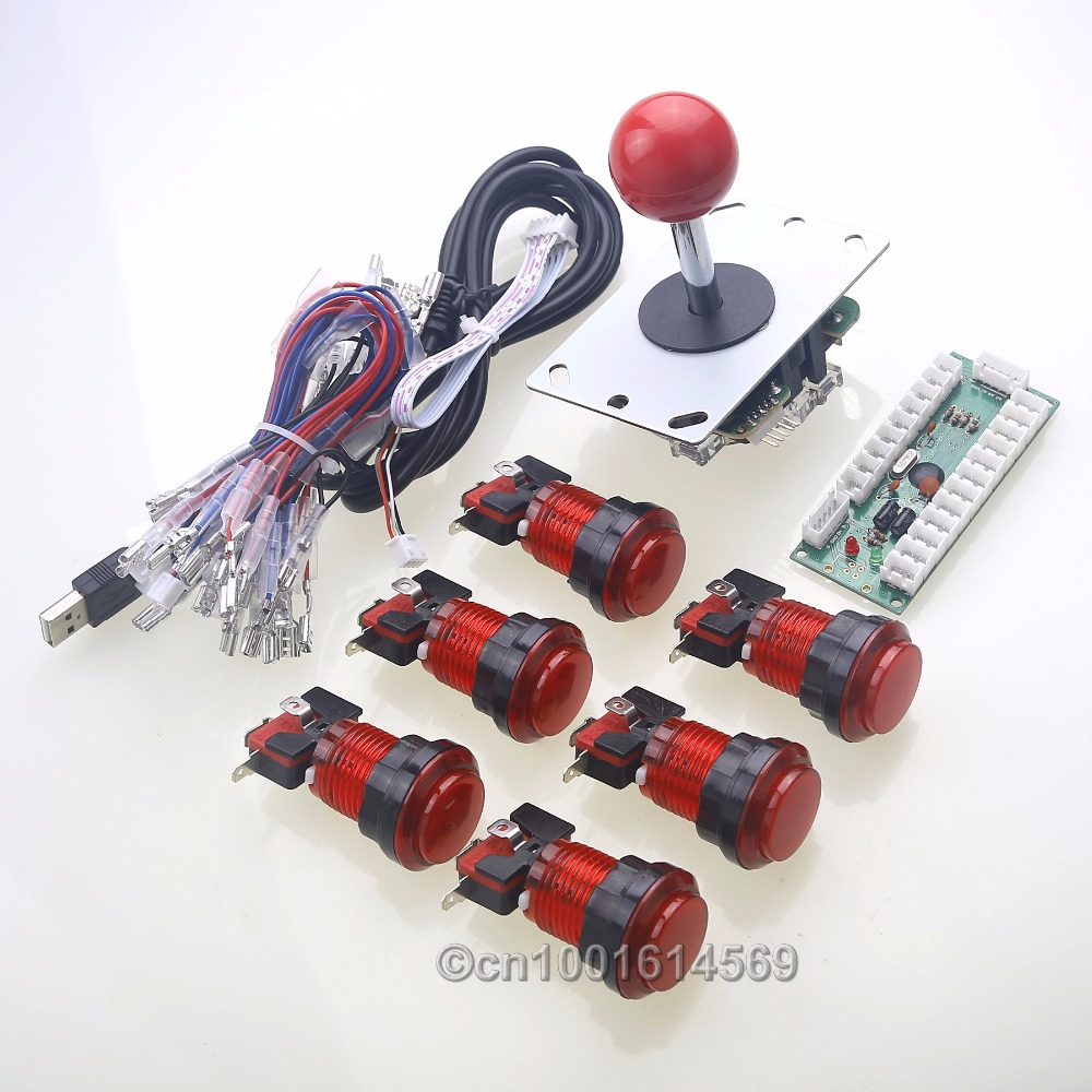 New Arcade DIY Kits Parts USB PC Encoder 5 Pin 8 Way Joystick 6 x LED