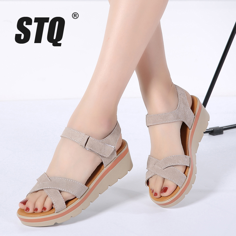 STQ Wedge Sandals Shoes Women Platforms Ankle-Strap Ladies 817 Suede