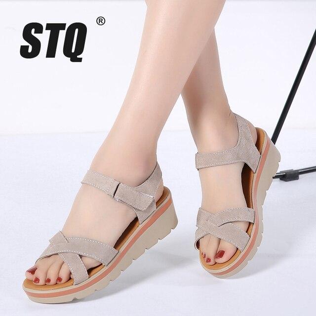 345273dfe012 STQ 2018 Women sandals summer suede leather wedge sandals shoes women  Platform sandals ladies ankle strap platforms sandals 817