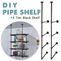 Industrial Retro Style Bookshelf DIY Wall Ceiling Mounted Open Storage Shelves Bracket 4 layer Iron Pipe Shelf Black Home Decor