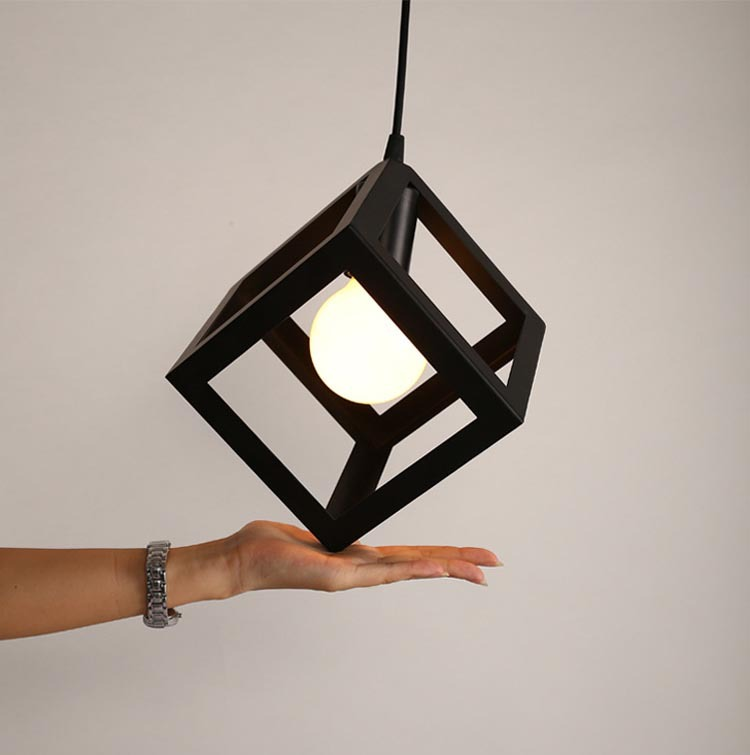 Nordic Creative American Style Wrought Black Iron Pendant Light Square Lamp Simple Lights Kitchen Lighting In From On