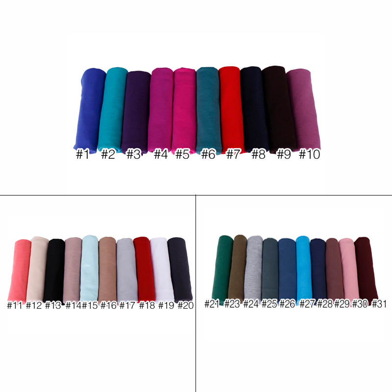 Image 3 - 35 colors High quality cotton jersey hijab scarf shawl women solid elasticity headscarf muslim headband maxi scarves wraps 10pcs-in Women's Scarves from Apparel Accessories
