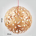 Modern Retro New Zealand basswood coral Ball earth fashion restaurant Handmade Wood LED Hanging Chandelier Lamp Lighting Light