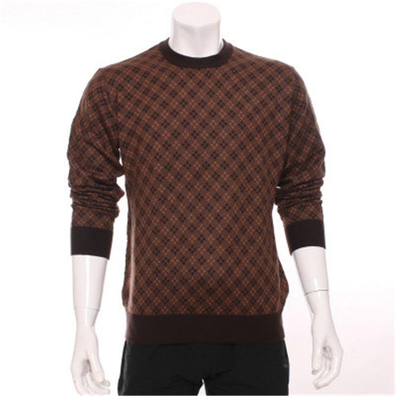 High Grade 100%goat Cashmere Exquisite Plaid Knit Men Winter Fashion Pullover Sweater Dark Blue 3color S-2XL