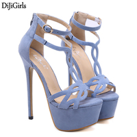 16cm Ultra High Heel Blue Shoes Sexy Stripper Shoes Party Pumps Summer Thin Heel Platform High Heel Sandals Ladies Shoes