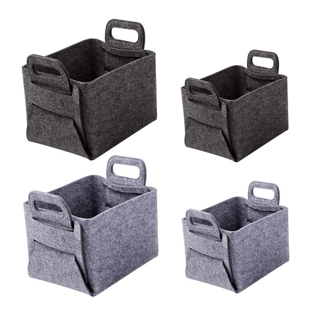 Europe Style Folding Grey Felt Cloth Basket For Baby Toys Laundry Basket  Washing Clothes Storage Box