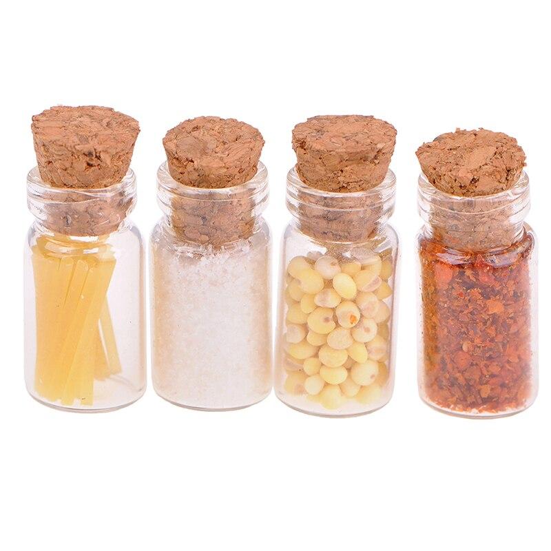 4Pcs/Set 1/12 Scale Dollhouse Miniature Glass Dried Food Jar For Dolls House Kitchen Decor Accessories Children Kids Toys