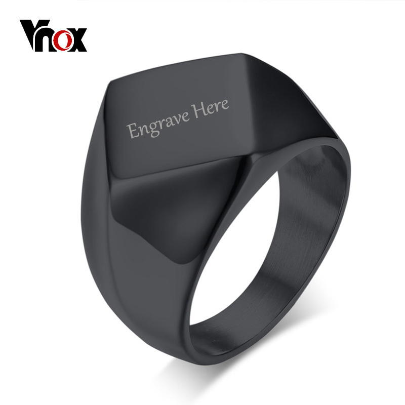 Vnox Free Engrave Image Name Flat Top Chunky Ring for Men Stainless Steel Personalized Male DIY Jewelry Gold Color Silver