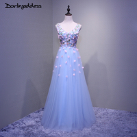 Real Photos Light Blue 3D Flowers Evening Dresses Sexy Double V Neck Long Evening Gown Formal