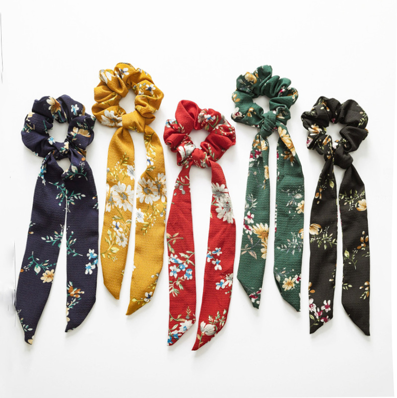 Women Long Tail Scrunchie Hair Ties Elastic Hair Bands Flower Scrunchies   Headwear   Girls Hair Accessories 2019 Hair tie