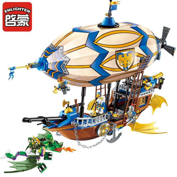 Enlighten 2316 Building Block War of Glory Castle Knights Sliver Hawk Balloon Ship 5 Figures 669pcs Educational Bricks Toy Boy enlighten new 2315 656pcs war of glory castle knights the sliver hawk castle 6 figures building block brick toys for children
