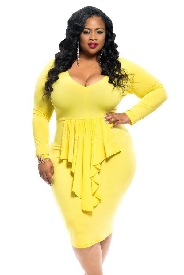 Plus Size Women Clothing Sexy Club Bodycon Dress Winter Fashion Tassels Knee Length -2959