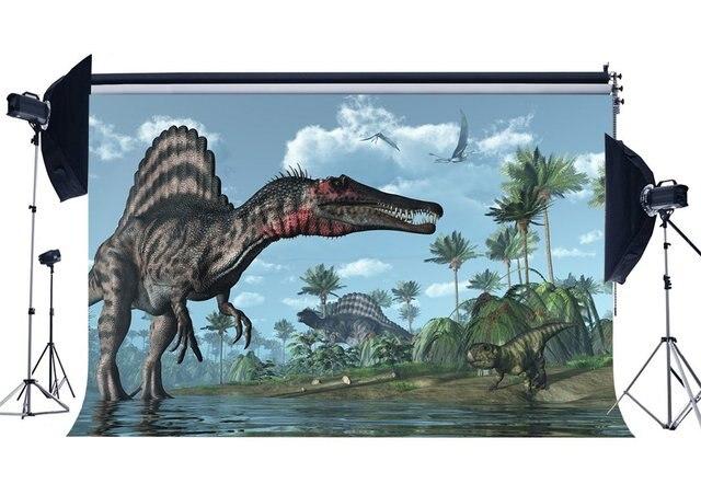 Динозавр фон Юрского периода кокосовые деревья река голубое небо белое облако декорации к мультфильму Сказочный фон