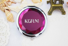 100pcs/Lot+Customized LOGO Crystal Compact Mirror Wedding Gift Pocket Mirror Bridal Shower Favors For Guest+FREE SHIPPING