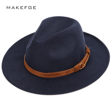 Men's wool warm shallow top fedora fashion trend unisex caps solid color 60CM la