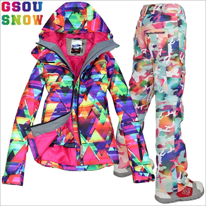 GSOU SNOW Brand Ski Suit Women Ski Jacket Pants Waterproof Snowboard Jacket Pants Winter Outdoor Snowboard