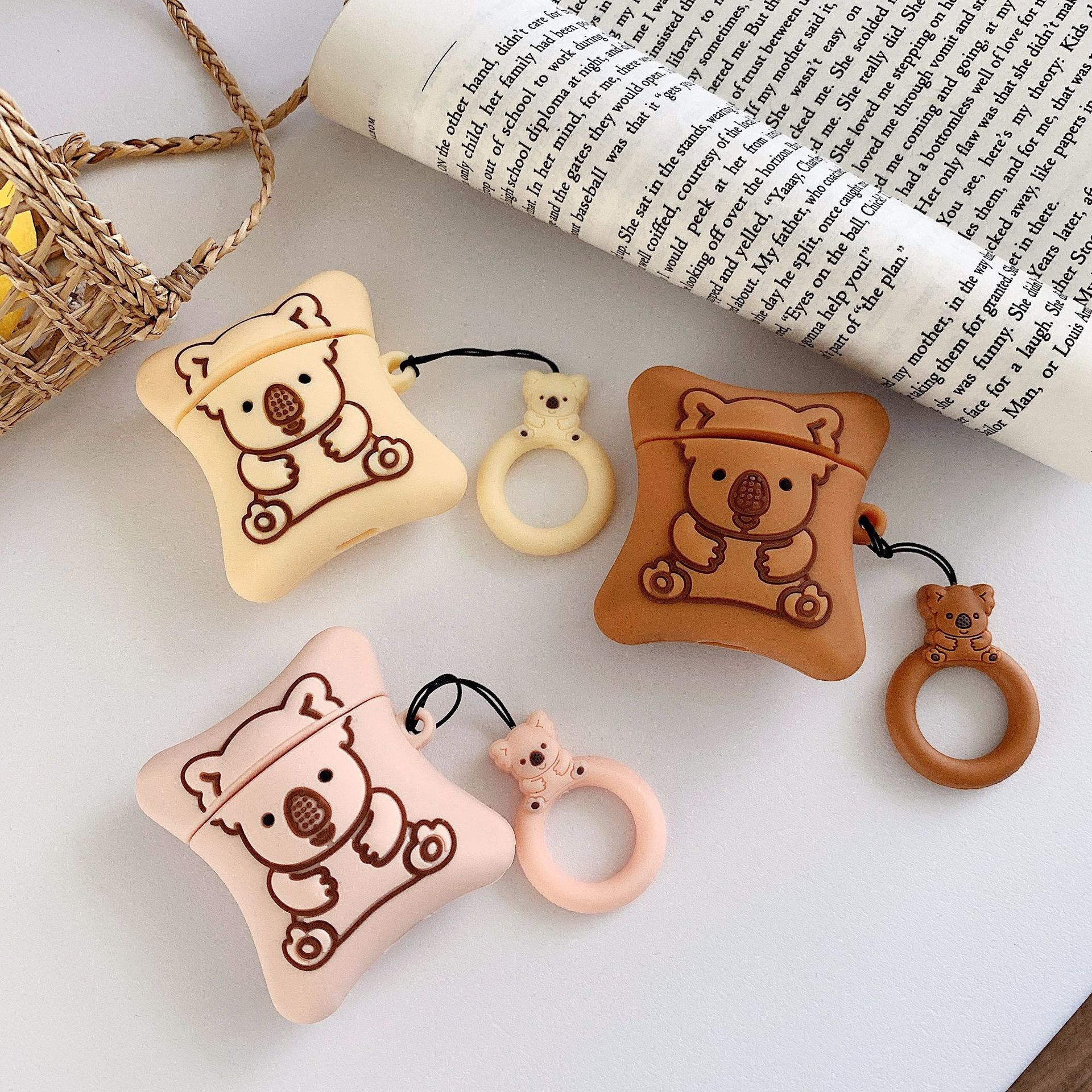 US $1 04 OFF For Airpods 2 Case Silicone Koala Cookies Cartoon Cover for Apple Air pods Cute Headphone Earphone Case for Earpods Ring Strap in