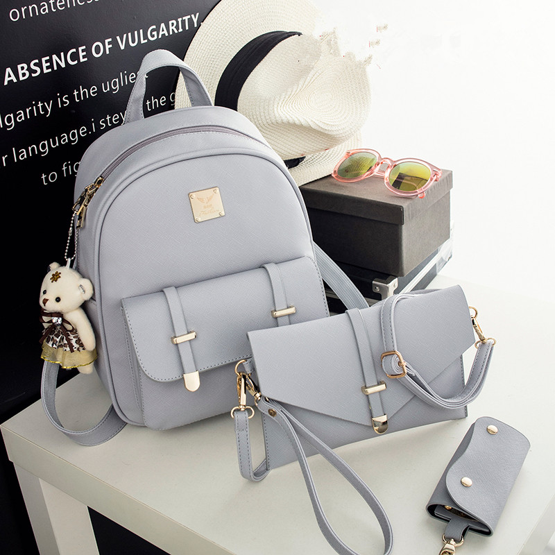 3 piece Fashion Women Backpack PU Leather Women Backpack College wind schoolbag Teenage Girl High Quality Travel Books Rucksack