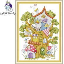 Joy Sunday,Tree elves,Cross stitch embroidery,printing embroidery kit,Printed cross kit,Cartoon picture