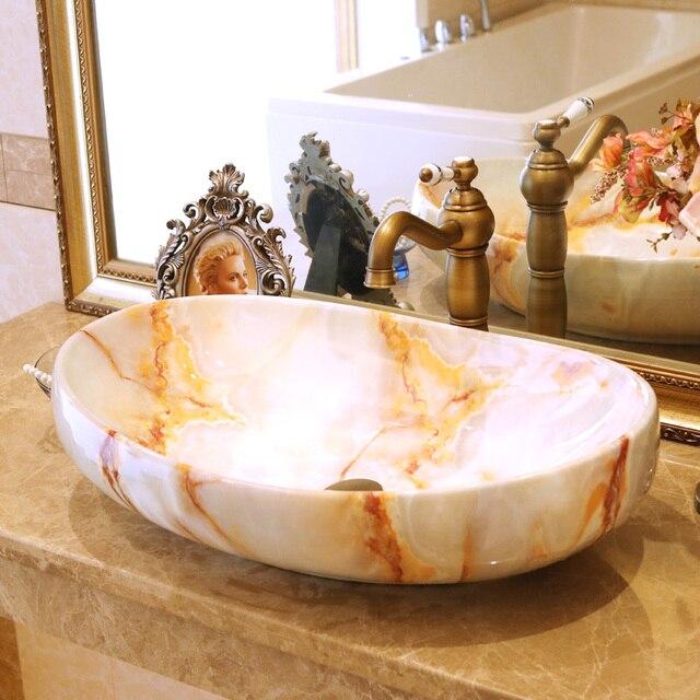 US $399.0 |Europa Vintage Stil Keramik Waschbecken Badezimmer arbeitsplatte  Waschbecken blau waschbecken badezimmer waschbecken in Europa Vintage Stil  ...
