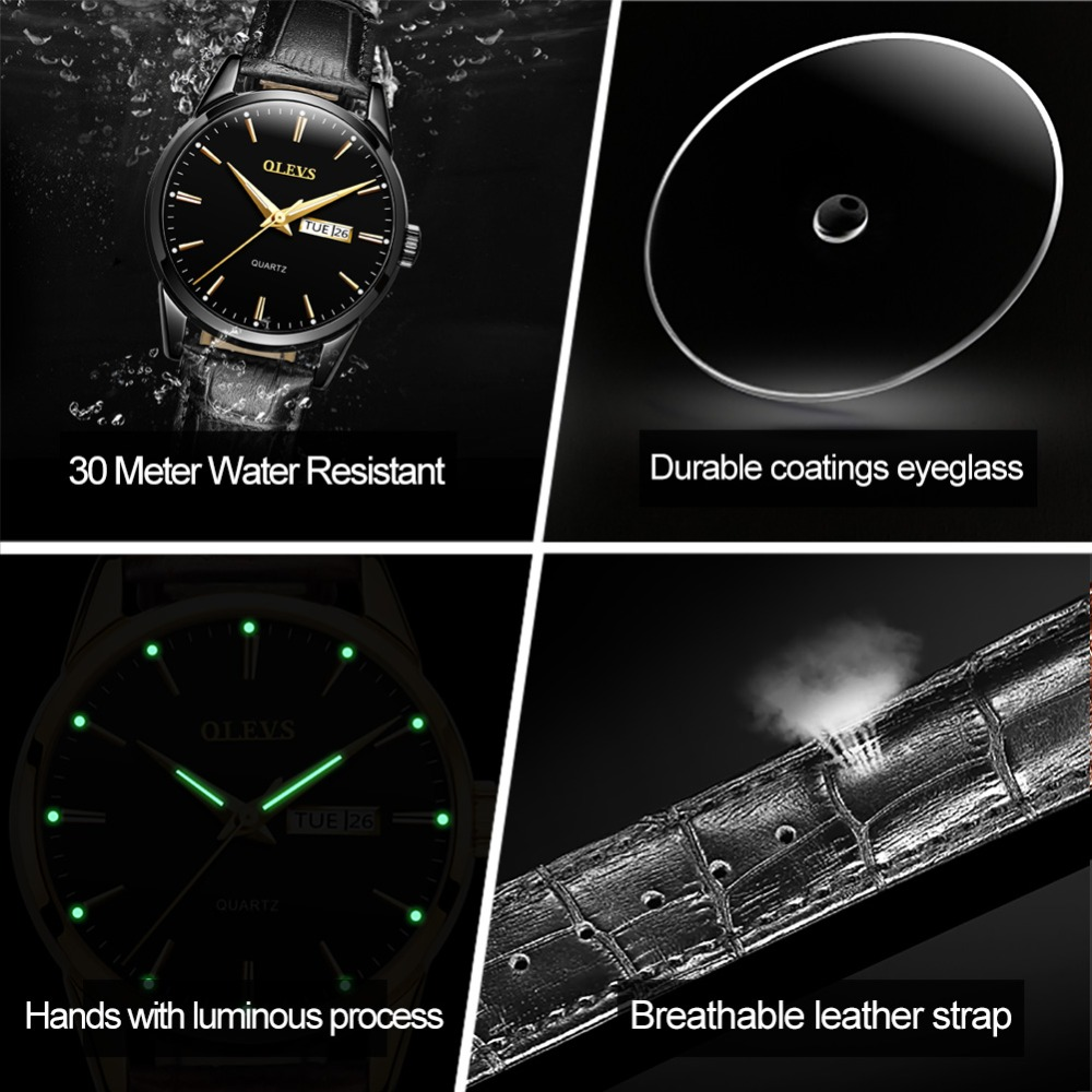 HTB1basfjbArBKNjSZFLq6A dVXaW Mens Watches Top Brand Luxury OLEVS Fashion Watch Men Leather Quartz Watch For Male Auto Date Rose Gold Shell relogio masculino