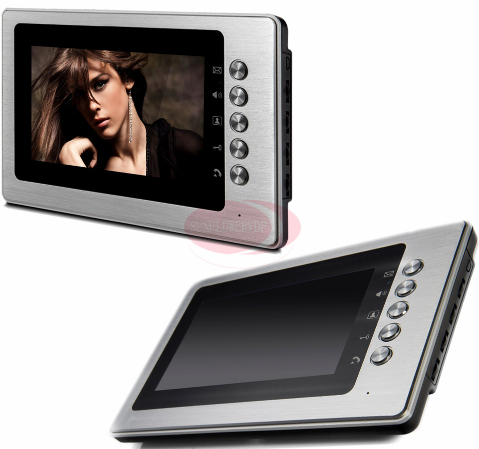 Hands Free Monitor Video Intercom Doorbell 7'' Color LCD Indoor Monitor 100V-240V Power Supply Support Remote Unlock/Video/Talk