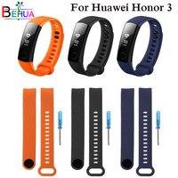Pulseira de silicone esportiva para huawei honor band 3, correia para ajuste de pulseira inteligente com ferramenta de reparo e substituição