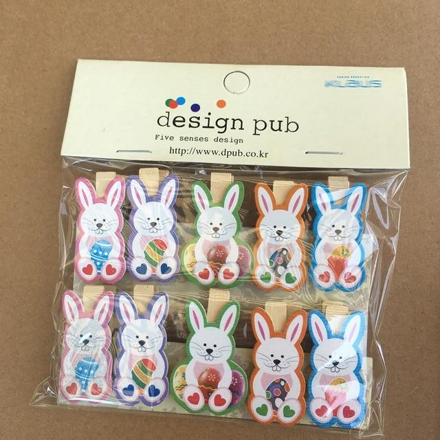 10Pcs/lot Easter Wooden DIY Photo Clips Handmade Cartoon Bunny Rabbit Wood Photo Clip Birthday Easter Decor Supplies