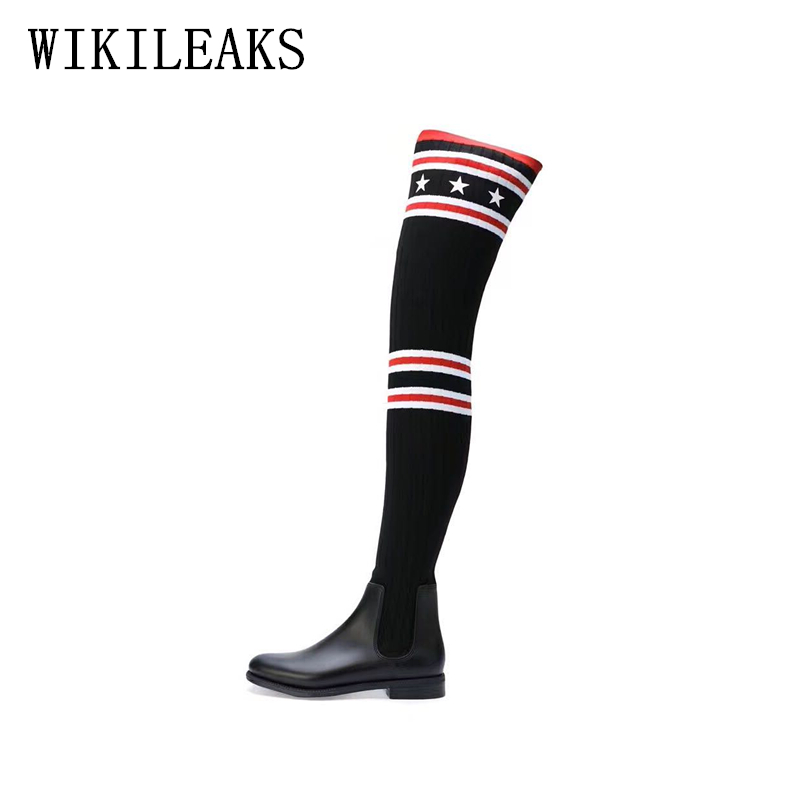 Striped sock boots shoes woman thigh high boots riding autumn over the knee boots bottes d