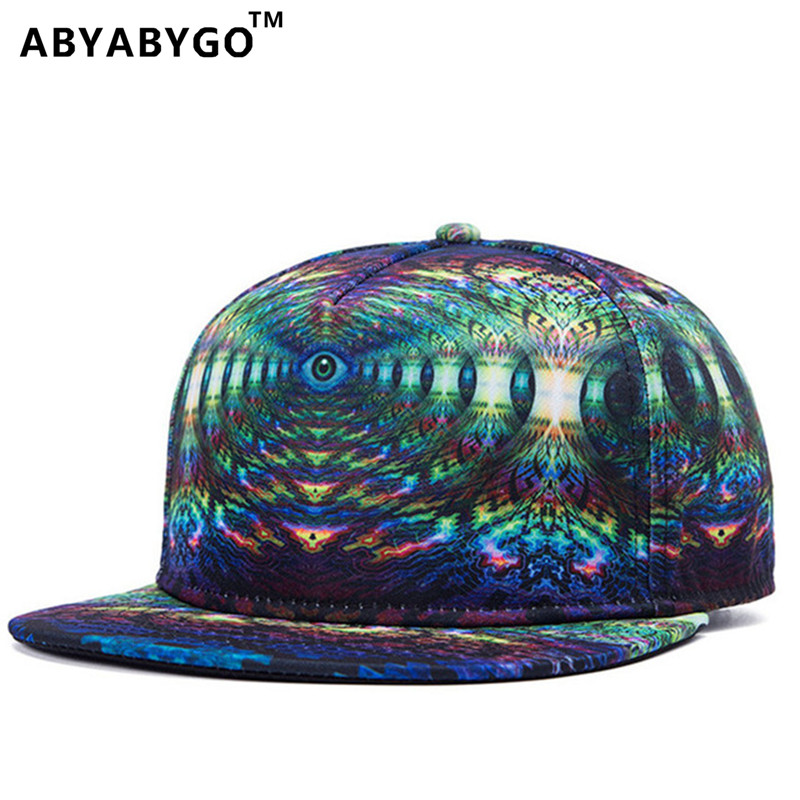 ABYABYGO Snapback Gorras Hat Bon Flat Brimmed Baseball Cap Fashion 3D Print Adjustable Hater Raiders Hip hop Trucker Bone Caps