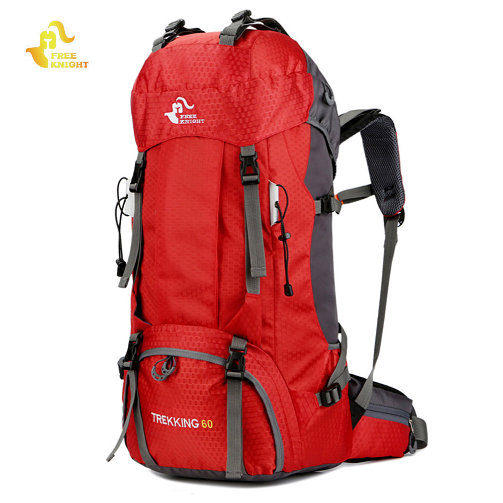 Free Knight Large Capacity 60L Camping Hiking Backpack Outdoor Sport Bag Rucksack for Climbing Hiking Travelling w/ Rain Cover mymei outdoor living climbing hiking rain cover waterproof rucksack bag backpack cover