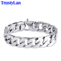 Glossy Stainless Steel Link Chain Bracelet Men 15MM Wide Men S Bracelets Bangles Handle Fashion Male