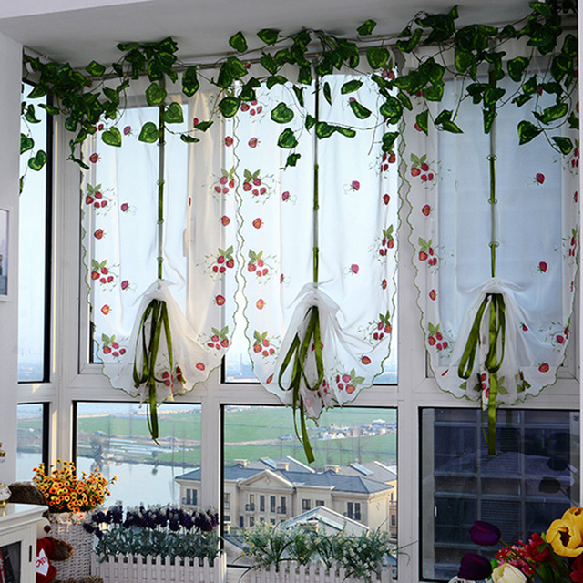 2018 Roman Curtains Top Sheer Kitchen Red Strawberry Window Curtains