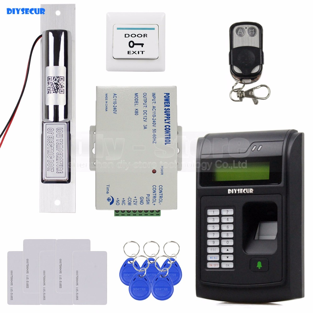DIYSECUR Remote Control 125KHz RFID LCD Fingerprint Keypad ID Card Reader Access Control System Kit + Electric Bolt Lock  208I-S diysecur lcd economic door rfid proximity reader access control keypad 10 id keyfobs brand new