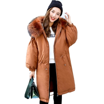2018 Fashion Women Winter Warm Down Jacket Female White Duck Down Coat With Large Real Fur Hooded Lady Thick Causal Outwear F781
