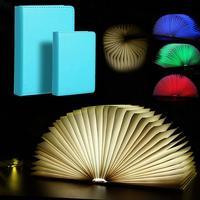 Colorful PU Leather Creative Folding Led Book Shape Night Usb Rechargeable Table Book Light