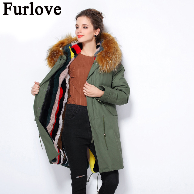 Furlove winter jacket coat women natural Large raccoon fur collar hooded denim women parkas outwear detachable rabbit lining 2017 winter new clothes to overcome the coat of women in the long reed rabbit hair fur fur coat fox raccoon fur collar