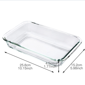 Image 3 - Clear Oblong Toughened Glass Baking Dishes Pan Oven Basics Plate Bakeware Non Stick Kitchen Tool Cheese Rice Tray
