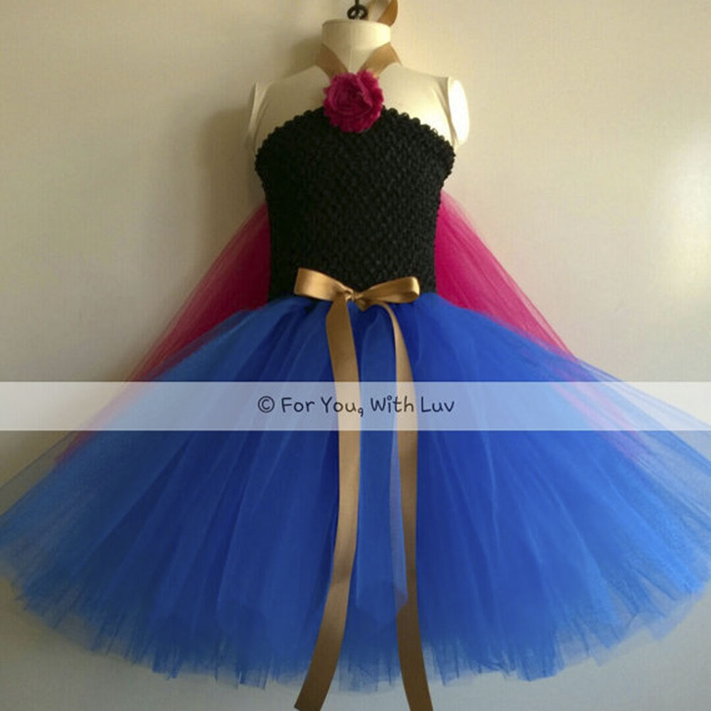 Girl Princess Anna Tutu Dress Child Ankle Length Elsa Snowflake Birthday Party Tutu Dresses With Capes Kids Halloween Custom princess alice inspired tutu dress children knee length character birthday party cosplay tutu dresses kids halloween costume