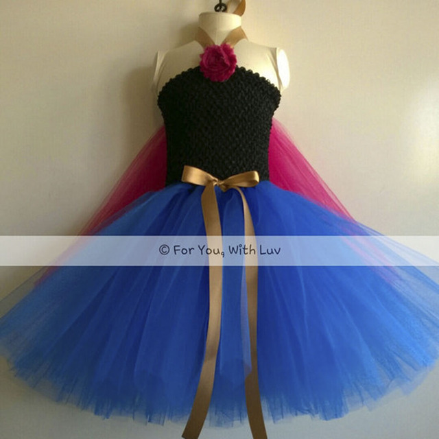 Girl Princess Anna Tutu Dress Child Ankle Length Elsa Snowflake Birthday Party Dresses With Capes