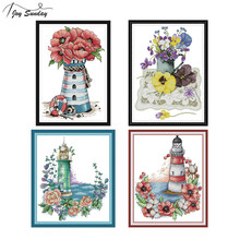Joy Sunday Counted Cross Stitch Kit Landscape Painting Lighthouse DIY Needlework Embroidery Patterns 14ct 11ct DMC Cotton Thread(China)
