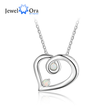 925 Sterling Silver Heart Necklace with White Opal Stone Romantic Pendant Necklaces for Women Party Jewelry (JewelOra NE103186) round beads ball opal pendant necklace 925 sterling silver chain necklaces natural stone opal collares women jewelry bijoux gift