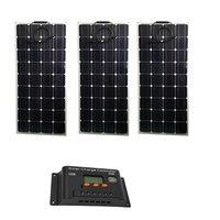 Небольшой системы солнечной энергии, 300 w Zonnepaneel гибкий 12 Вольт 100 Вт 3 шт. за максимальной точкой мощности, Солнечный Контроллер заряда 12/24 v 30A