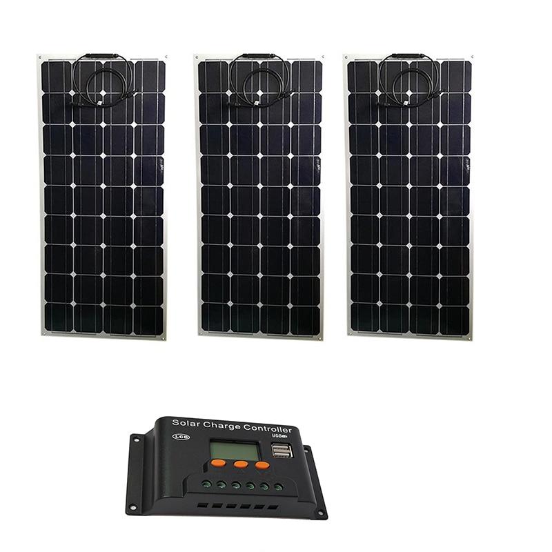 Buy Kit Solar 300w Zonnepaneel Flexible 12 volt 100 watt 3 Pcs Solar Charge Controller 12/24v 30A LCD Solar Battery Charger Caravan for only 589.99 USD