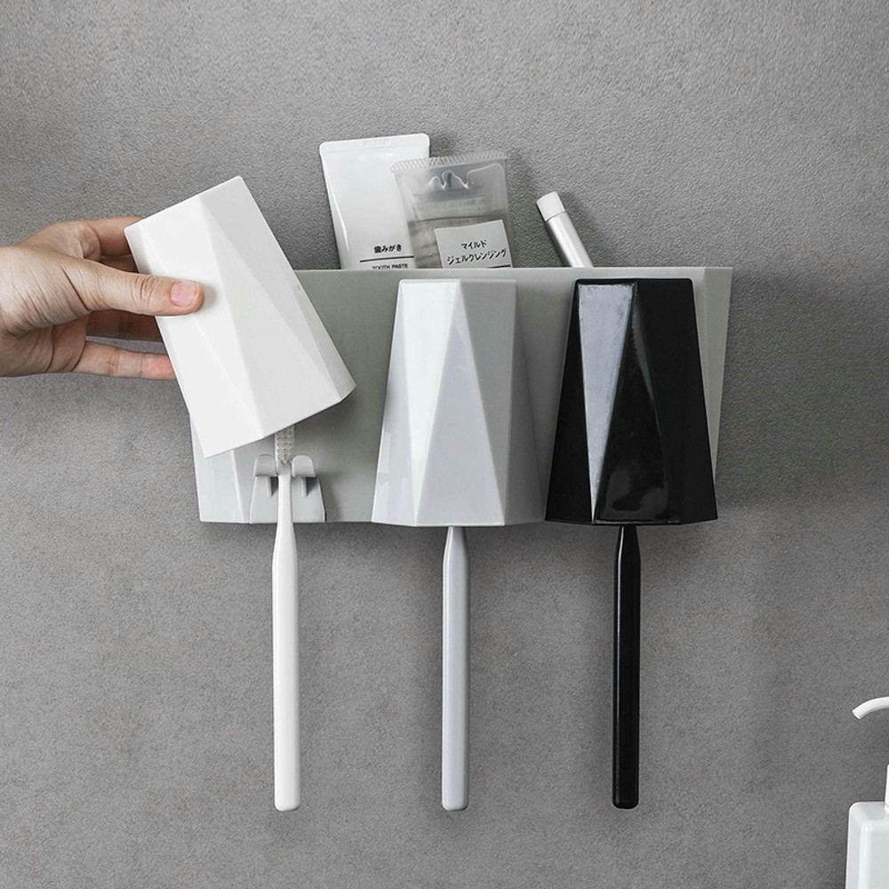 1 Set Toothbrush Spinbrush Wall Mount Suction Holder Stand Rack Home Bathroom Self-adhesive Tooth Cup Holder image